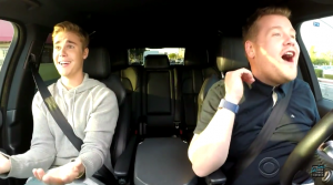 Justin Bieber and James Corden liftshare!