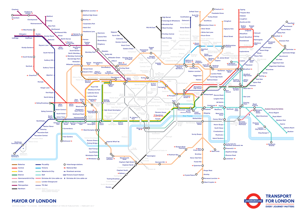 Map of London Underground disruption caused by strikes 5th-8th February 2017.