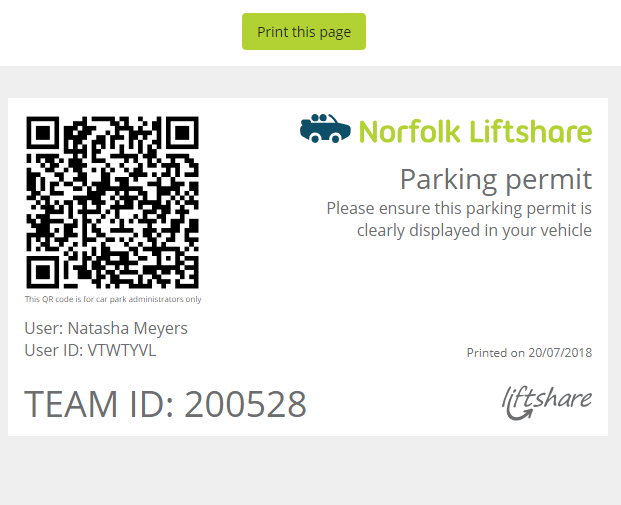 norfolk liftshare permit